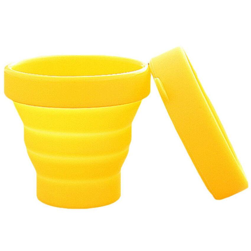 ซิลิโคนแบบพกพาพับเก็บได้ถ้วยน้ำพริกสำหรับกีฬากลางแจ้งเดินทางสีเหลือง ...