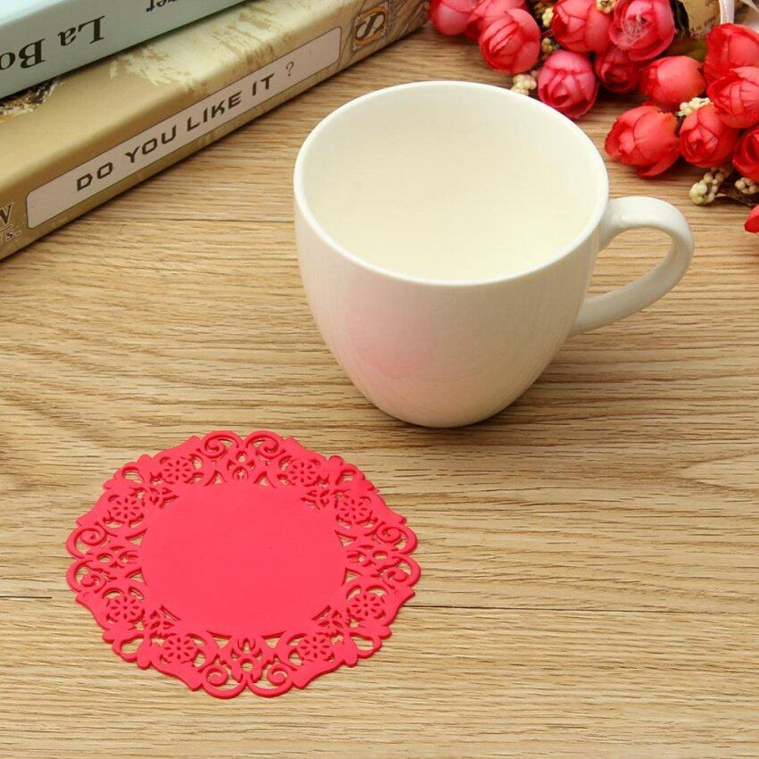 Red New Hot Beautiful Silicone Coasters Random 6 Pack Color Round Drink Coasters Lace Stain Resistant Placemat - intl