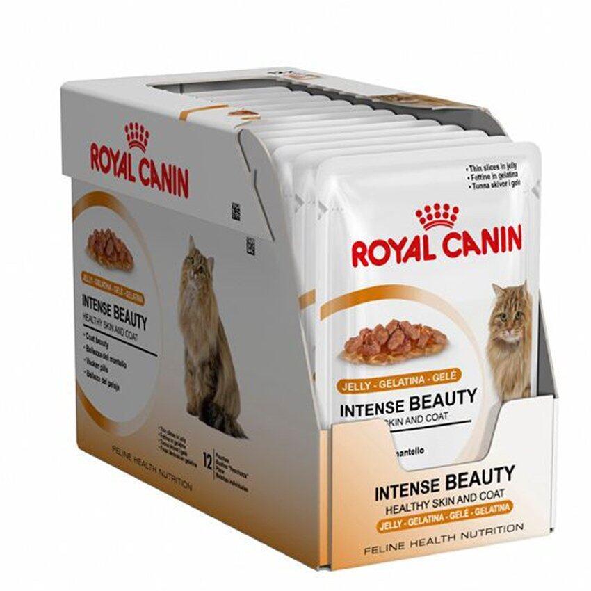 Royal Canin Intense Beauty - Jelly อาหารเปียกสำหรับแมวที่ต้องการบำรุงขนและผิวหนัง 1-10 ปี 85 g. แพค 12 ซอง