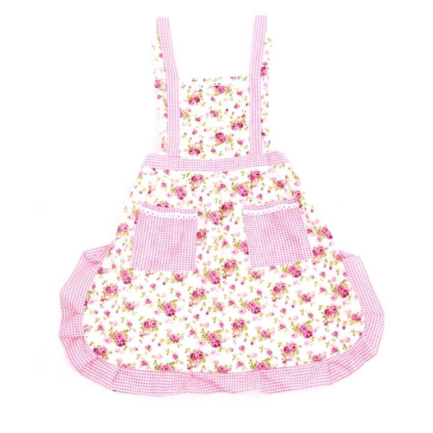 S & F Rose Bud Pattern Kitchen Apron (Pink)