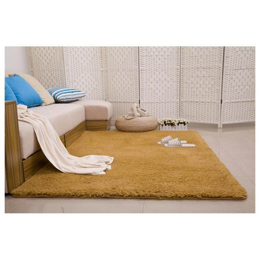 Shaggy Anti-skid Carpets Rugs Floor Mat/Cover 80x120cm(Khaki)