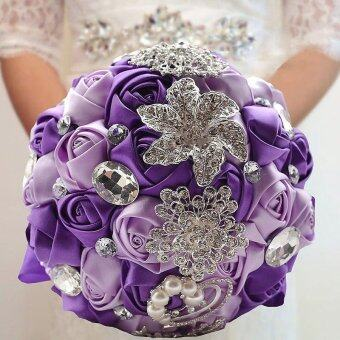 Sparkle Crystal Beaded Flowers Bouquet Artifical Bouquets Wedding Supplies - intl