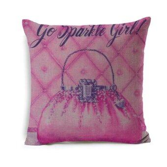 Sparkle Girl Decorative Cushion Cover Pink Bag Lady Accessory Printed Linen Sofa Pillow Cover Cases