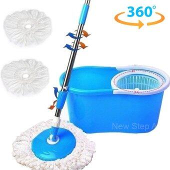 Spin Mop ชุดถังปั่นม๊อบพร้อมไม้ม๊อบและผ้าม๊อบ 2 ผืนรุ่น Super Eco (สีฟ้า)