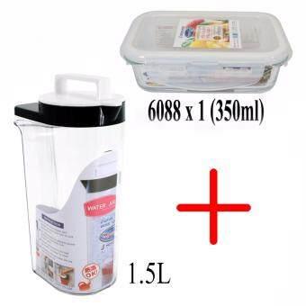 SuperLock เหยือกน้ำอะคิลิค ความจุ 1500 มิลลิลิตร สีน้ำเงิน SuperLock #5558-B และกล่องถนอมอาหาร Super Lock แก้ว 350 มิลลิลิตร