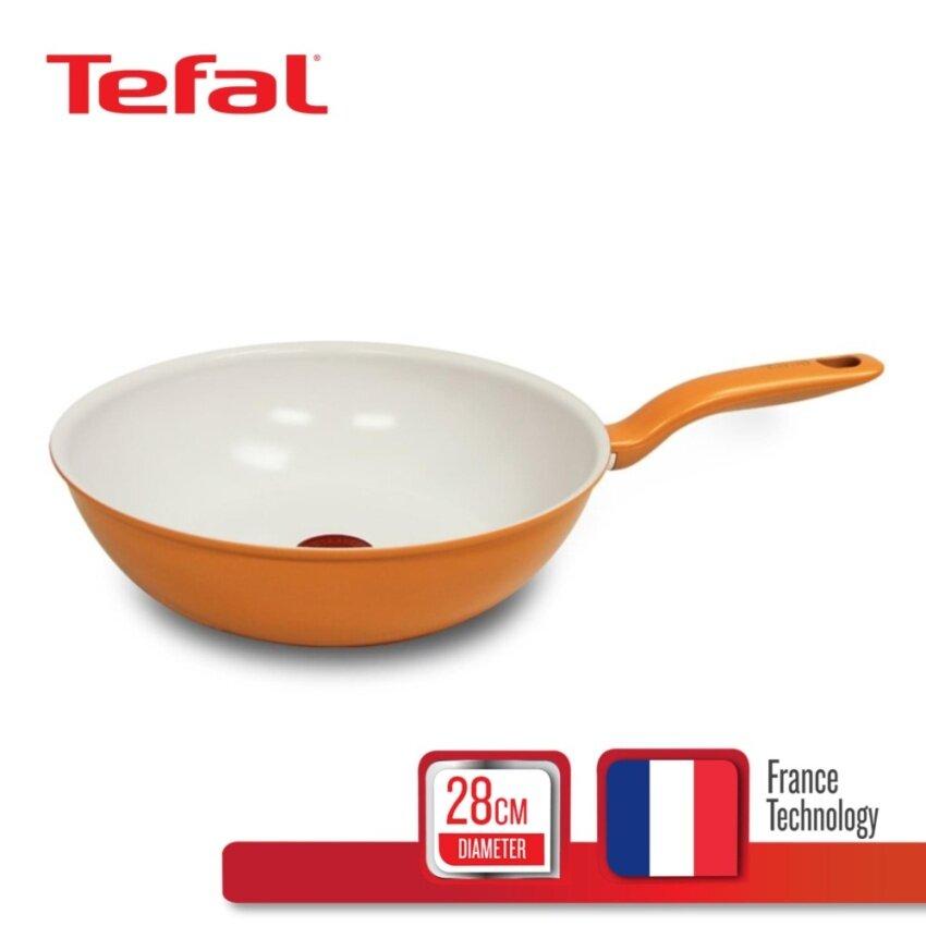Tefal กระทะก้นลึก 28 ซม. รุ่น Ceramic Colors C9051972 - Orange