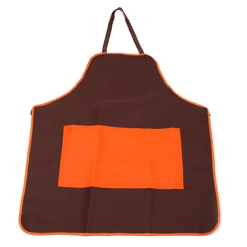 Thanapand ผ้ากันเปื้อนเต็มตัวสีน้ำตาล กระเป๋าหน้าสีส้ม