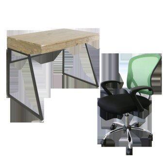 U-RO DECOR โต๊ะทำงานอเนกประสงค์/โต๊ะคอมพิวเตอร์ รุ่น ORANGE ออเรนจ์ (สีโอ้คธรรมชาติ/น้ำตาลเข้ม) + เก้าอี้สำนักงาน รุ่น MIRANO (สีแดง/ดำ)