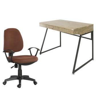 U-RO DECOR โต๊ะทำงานอเนกประสงค์/โต๊ะคอมพิวเตอร์ รุ่น ORANGE ออเรนจ์ (สีโอ้คธรรมชาติ/น้ำตาลเข้ม) + เก้าอี้สำนักงาน รุ่น PARMA-L (สีเขียว)
