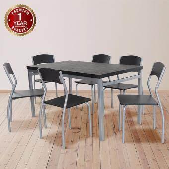U-RO DÉCOR ชุดโต๊ะรับประทานอาหาร SONOMA  สีวอลนัท/ขาสีเงิน/จุกสีเทา (โต๊ะ 1+เก้าอี้ 6 ตัว)