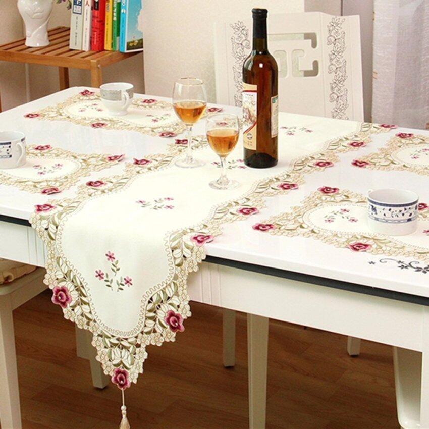 Vintage Embroidered Flower Cutwork Tassel Table Runner Wedding Party Decoration - intl