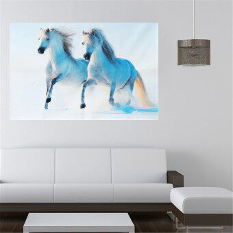 White Running Horse Wild Nature Animal Silk Cloth Poster Home Wall 30x45cm - intl