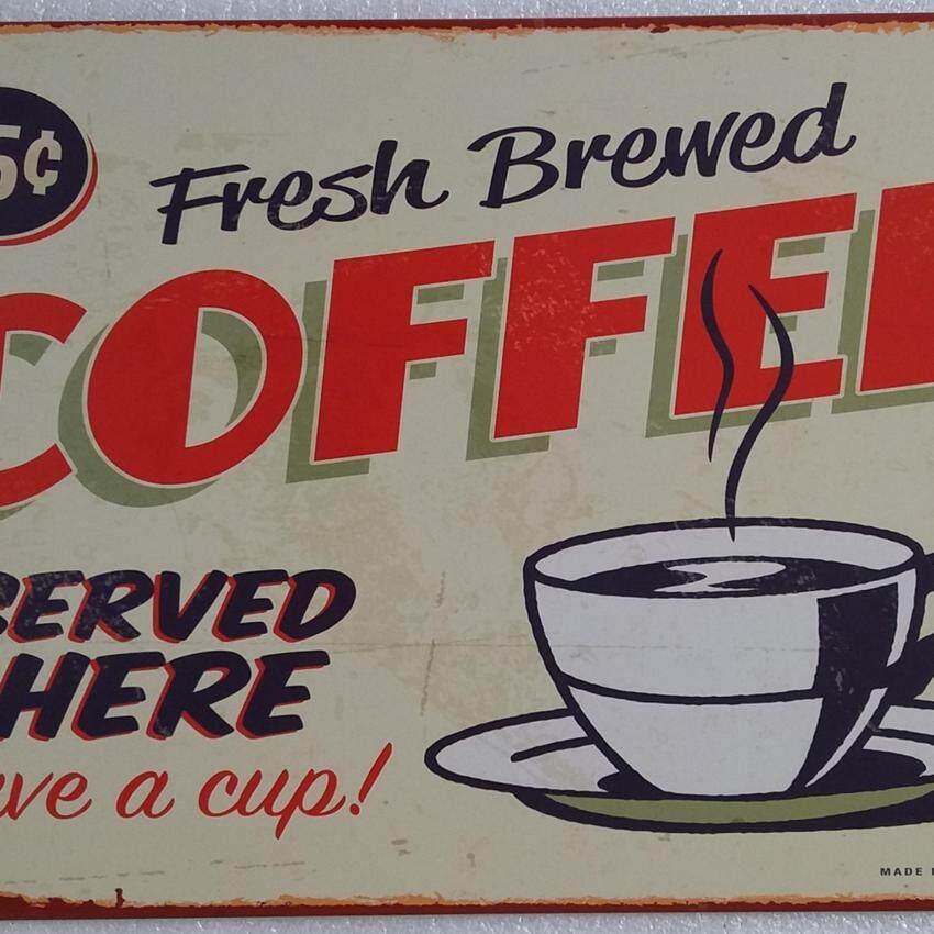 Yika Vintage Algam Painting Retro Frosted Iron Sheet Metal Drawing Cafe Bar Home Decor - intl