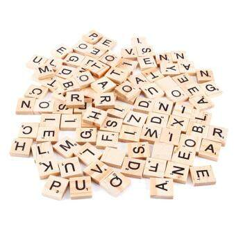 100 Wooden Alphabet Scrabble Tiles Black Letters & Numbers ForCrafts Wood - intl