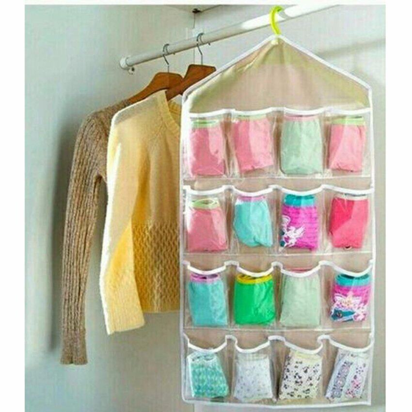 กระเป๋าแขวนสำหรับจัดเก็บเสื้อผ้า ไม้แขวนเสื้อสินค้าเรียบร้อยออแกไนเซอร์ 16 ชิ้น (สีน้ำตาล)