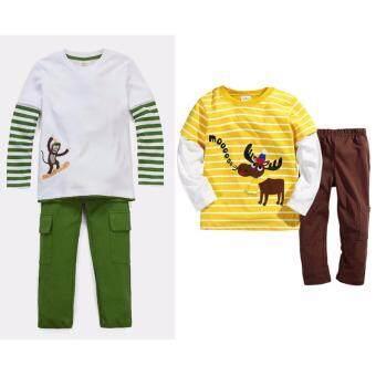 เสื้อแขนยาว กางเกงขายาว เข้าชุด 2 ชุด เด็ก อายุ 1-7 ปี ลายลิง+กวางเรนเดียร์ # 2447