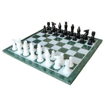 "20"" x 20"" Collectible Green Marble Chess Board Game Set + Marble Stone Pieces"