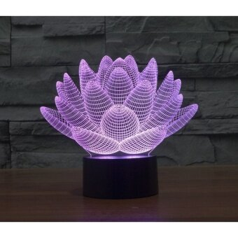 3D Creative lotus LED light Table lamp Rainbow color touch bedsideLamps atmosphere colorful desk lamp - intl