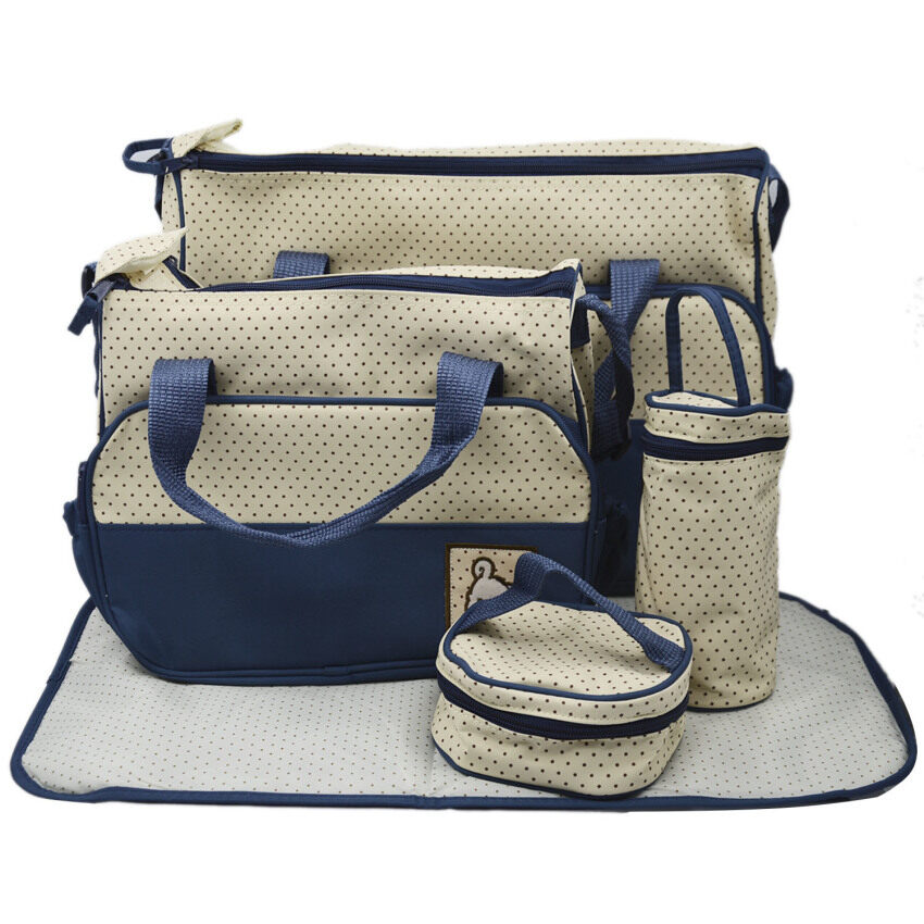 5PCS Practical Mummy Baby Diaper Bag Baby Changing Mat Multifunctional Set Navy Blue