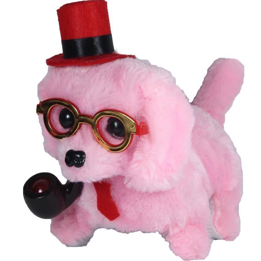 ตุ๊กตา ตุ๊กตาสุนัขคาบไปร์ท เดินเห่า สีชมพู B116-4