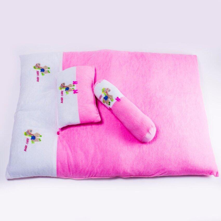 Babi care ชุดที่นอนเด็กผ้าขนหนูขนาดใหญ่ ที่นอน หมอน หมอนข้าง ( 1 ชุด ) สีชมพู ...