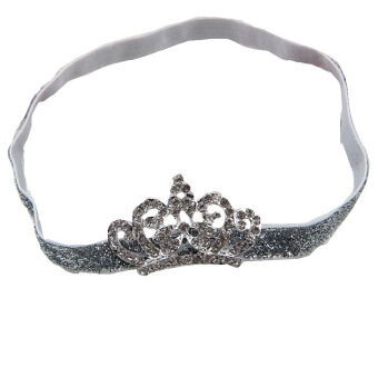 Baby Kids Crystal Crown Hair Band Princess Headwear Diamond Bridal Soft Prom Fabric White Band
