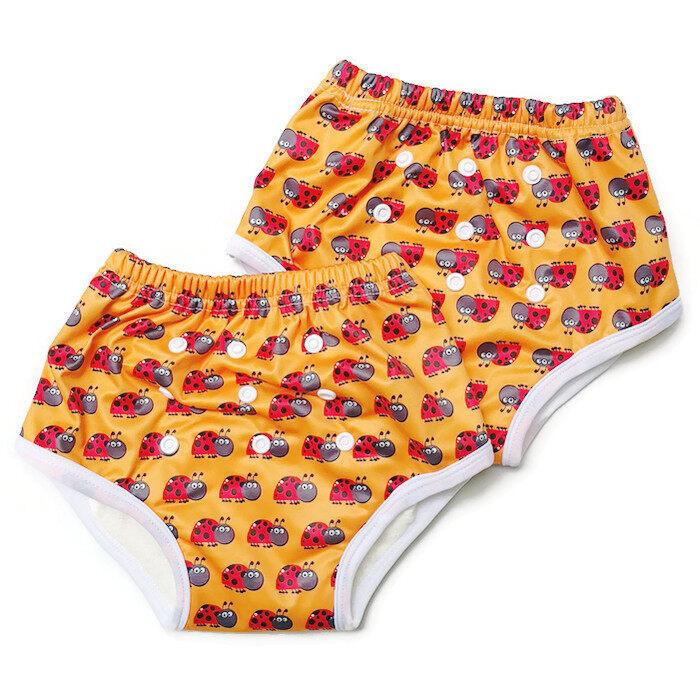 BABYKIDS95 กางเกงผ้าอ้อมแบบสวม รุ่นแบมบู กันน้ำ Size:M รอบเอว 14-18 นิ้ว เซ็ท 2 ตัว (สีส้มลายเต่าทอง)