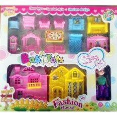 Candy Toy บ้านตุ๊กตาเเฝด มีเฟอร์นิเจอร์ เเละตุ๊กตา อุปกรณ์ครบ (กระโปรงม่วง) image