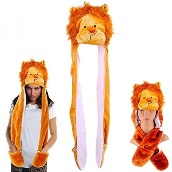 Dazzling Toys Plush Lion Hat with Long Paws Multi-functional Novelty Hoodie Hat - intl