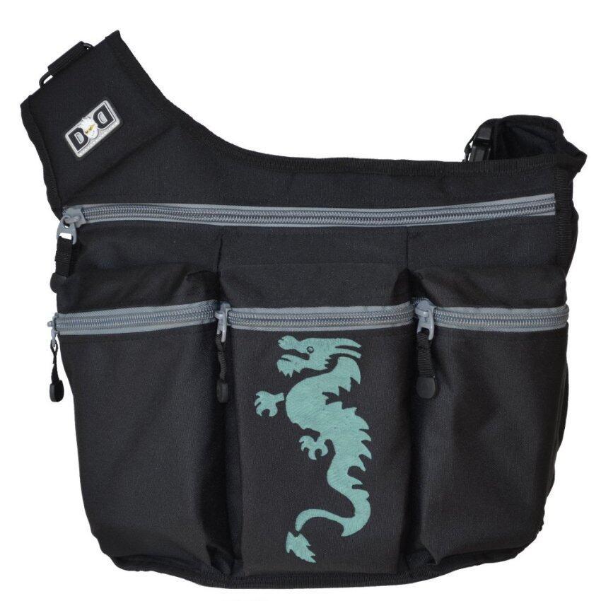 Diaper Dude กระเป๋าผ้าอ้อม สำหรับคุณพ่อ รุ่น Messenger I – สีดำ ปั้มลายมังกร