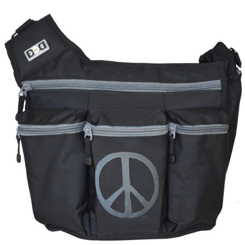Diaper Dude กระเป๋าผ้าอ้อม สำหรับคุณพ่อ รุ่น Messenger I – สีดำ ปั้มลาย Peace