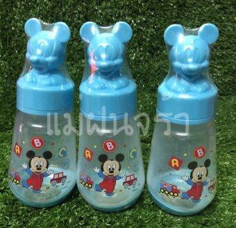 Disney Baby ขวดนม 4 ออนซ์ Mickey Mouse ฝาครอบมิกกี้เม้าส์ พร้อมจุกนม ไซส์ M เซท 3 ขวด (ฟ้า)