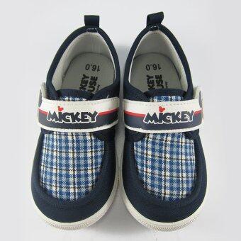 Disney Mickey Mouse รองเท้าผ้าใบ เด็กชาย ลาย มิคกี้ เมาส์ สีกรม