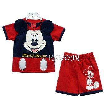 Disney Mickey Mouse and Friends เสื้อผ้าเด็ก เสื้อคอตต้อนมีหูฟองน้ำนิ่ม น่ารัก Size S M L - A1549