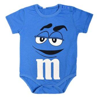 Europe And America Style Round Collar Boy Baby Jumpers With M&M Chocolate Patterns-Blue
