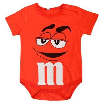 Europe and America Style Round Collar Boy Baby Jumpers with M&M Chocolate Patterns-red