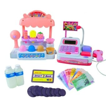 Four Season Big Sale Children Pretend Play Toy Set Ice Cream Shop Cash Register with Realistic Actions and Sounds Gift for Kids Color:Pink - intl