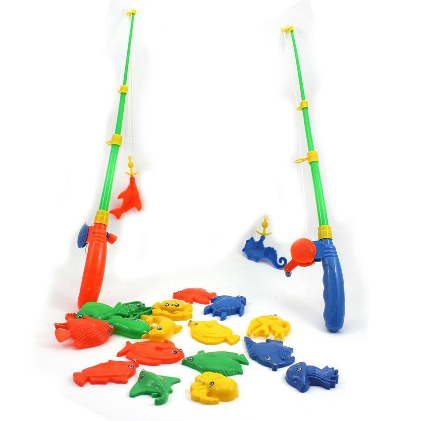GDS Baby Kid Toy Magnetic Fishing Two Rods + Various Fish Modelpretend Play Fun Toy - in ...