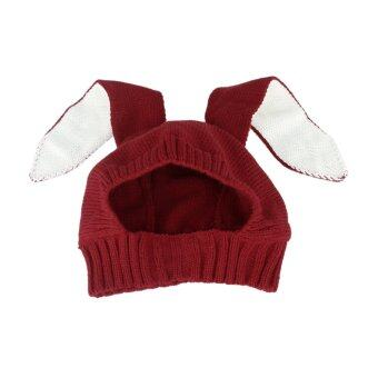 cb9e7281a39a ส่วนเกิน Winter Baby Rabbit Ears Knitted Hat Toddler Kids Wool Cap ...