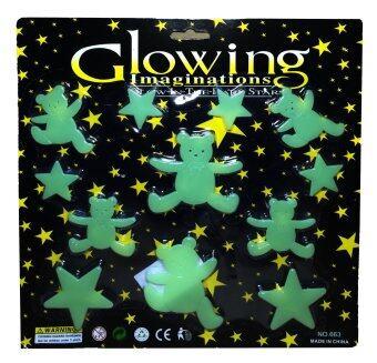 แผ่นติดผนังหรือเพดานเรืองแสงสำหรับเด็ก หมีน้อยเริงร่า Glow in the Dark sticker for kids Happy Bears in the World