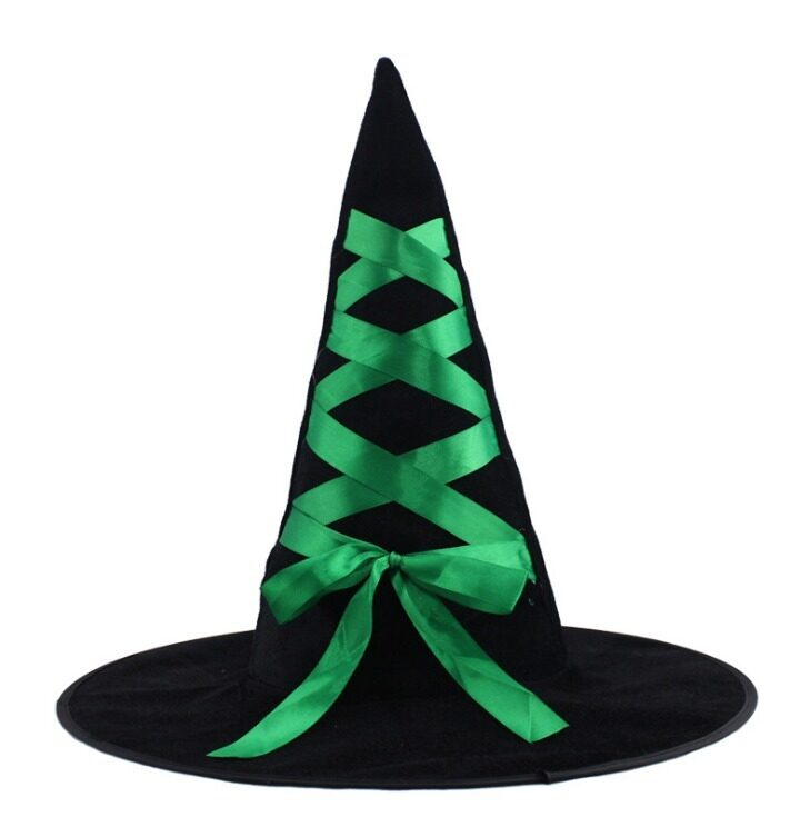 Halloween Ribbon Velvet Witch Hat Green-intl