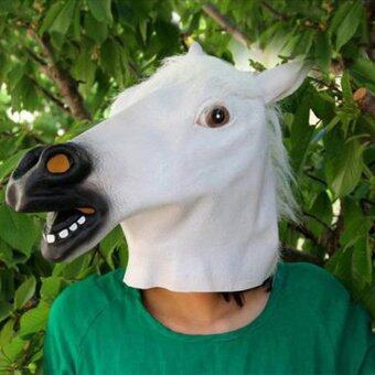 Horse Head Mask Animal Costume n Toys Party Halloween-white
