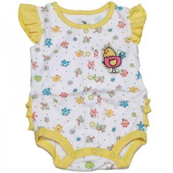 ชุด Jumpsuit Bears's สีขาว-เหลือง ลายกุ๊กไก่