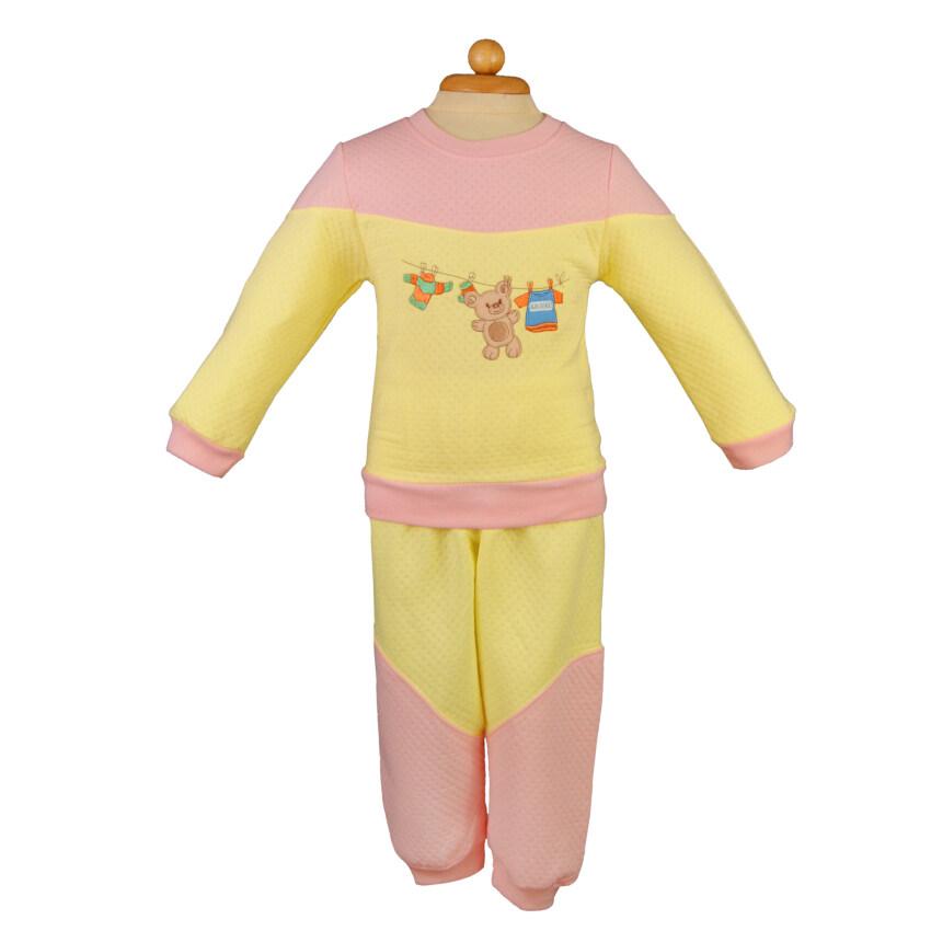 Kazoku เสื้อผ้าเด็ก ชุดนอนเด็ก/เสื้อกันหนาว ผ้าSandwich สีส้ม-เหลือง ลายปักหมี ...