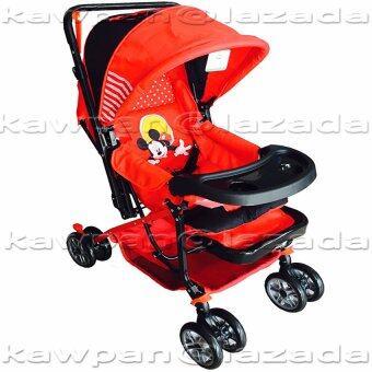 K.baby รถเข็นเด็กมิ้กกี้เม้าส์ (ปรับได้ 3 ระดับ นั่ง/เอน/นอน) เข็นได้ 2 ด้าน + มุ้งกันยุ่ง เเละแมลง สีแดง