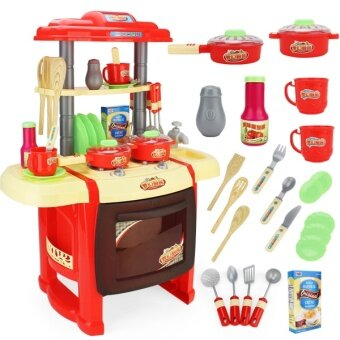 Kids Kitchen Cooking Pretend Role Toy Play Set Lights Sound Electronic - Red - intl