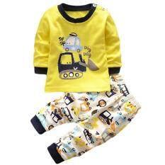 LALANG Baby Boy Girl 2Pcs Clothing Set Cartoon Digging Machine LongSleeve Top + Pants Pajamas Underwear