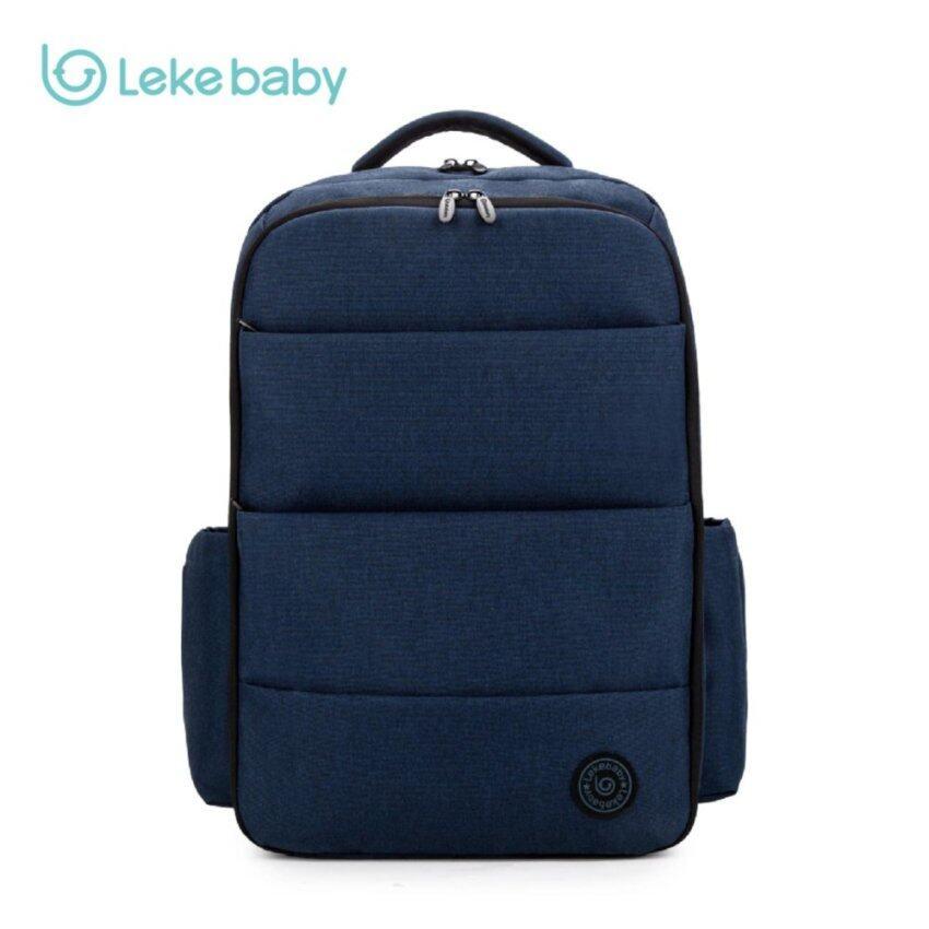 LEKEBABY Diaper Bag Large Capacity Water & Scratch Resistant Double Opening Mummy Backpack - Navy Blue - intl