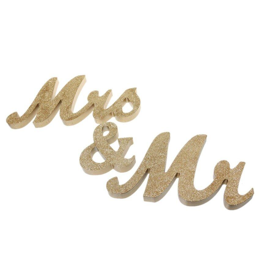 MagiDeal Glitter Mr & Mrs Wooden Letters Wedding Freestanding Sign Table Decoration - in ...