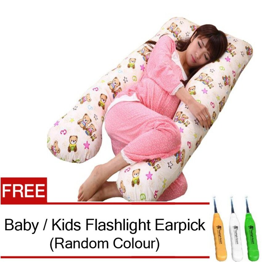 Maternity Pillow Pregnancy Support Feeding Baby U Shape Pillow (Bear Design) FREE Baby / Kids Flashlight Earpick - intl